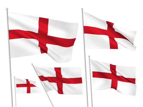 England vector flags. A set of 5 wavy 3D flags created using gradient meshes