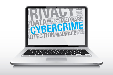 Cybercrime word cloud on laptop screen vector concept