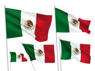 Mexico vector flags. A set of 5 wavy 3D flags created using gradient meshes