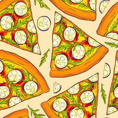 Seamless pizza pattern.