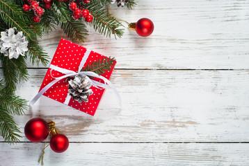 Christmas red gift box.