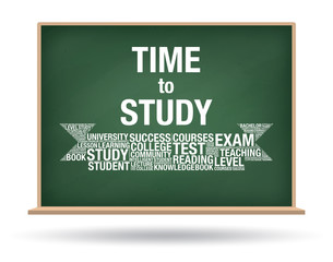 Time to Study on green chalkboard isolated background
