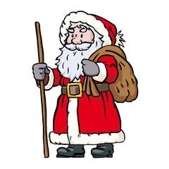 Sankt Nikolaus mit Sack und Stock