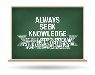Always seek knowledge on green chalkboard isolated vector