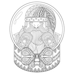 Vector zentangle Christmas snow globe with Santa Claus. Hand dra
