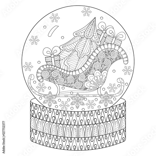 """Vector zentangle snow globe with sledge, Christmas tree ..."