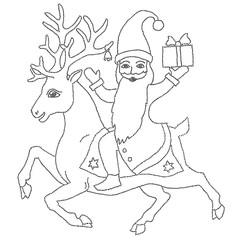Vector illustration of deer riding Santa in black and white