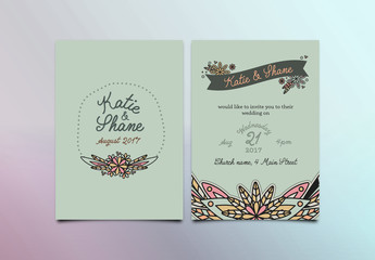 Simple Floral Wedding Invitation Layout 3