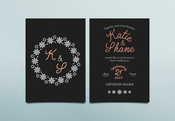 Simple Floral Wedding Invitation Layout 2
