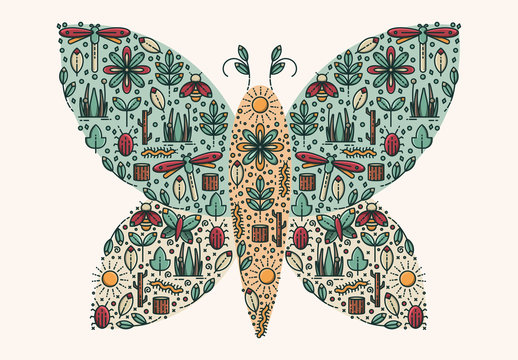 Nature Pattern in a Butterfly Shape Layout