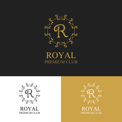Monogram emblem in classic style. Logo template