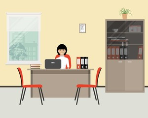 Web banner of an office worker. The young woman is an employee at work. There is furniture in beige color and red chairs on a window background. Vector flat illustration