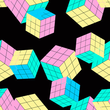 geometric seamless pattern with cubes