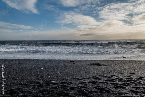 Reynisfjara Or The Black Sand Beach Near The Village