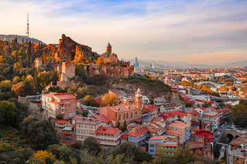 Beautiful sunset view of Old Tbilisi from the hill Wall mural