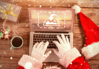 Santa with Laptop Mockup