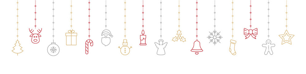 christmas colorful icon elements hanging white background
