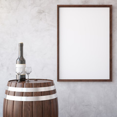 Wine and wooden frame