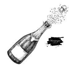 Champagne bottle explosion. Hand drawn isolated vector illustrat