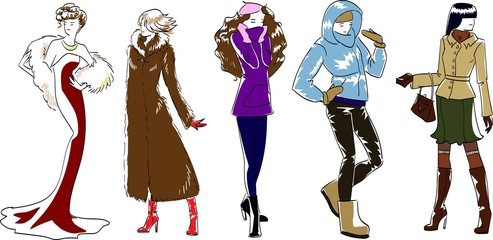 Vector, fashion models, sketch hand drawn, winter set