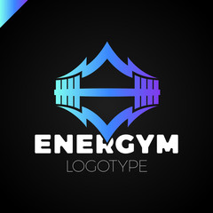 Energy Gym fitness barbell logo icon with swoosh graphic element
