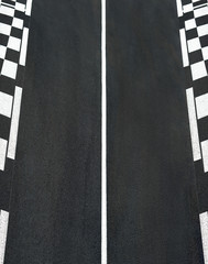Texture of race asphalt and chess curb Grand Prix circuit