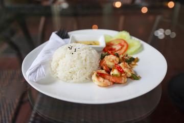 Shrimp and crab stir fried with basil.Thai local food.