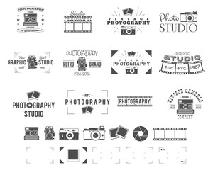 Photography logo templates set. Use for photo studio, old camera equipment store, shop etc. Photographer symbols included - retro cameras, frame and other elements.