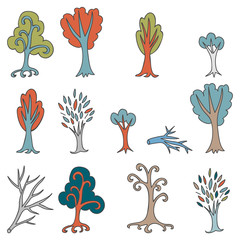 Colorful doodle set of different trees and branches. Hand drawn cute forest collection. Cartoon woodland. The best for design, website. Vector illustration.