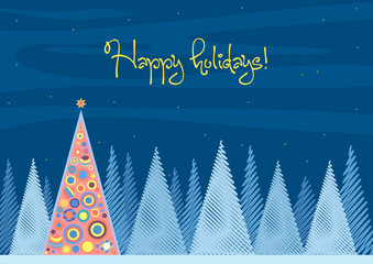 Beautiful Chrismas tree winter flat landscape background. Christmas forest woods in night. New Year Happy Holidays vector greeting card.