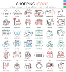 Vector Shopping e-commerce color line outline icons for apps and web design. Shopping mall commerce icons.