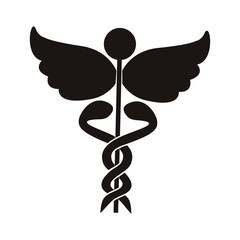 black silhouette Health symbol with Serpents entwined vector illustration