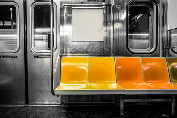 New York City subway car interior with colorful seats Fotobehang