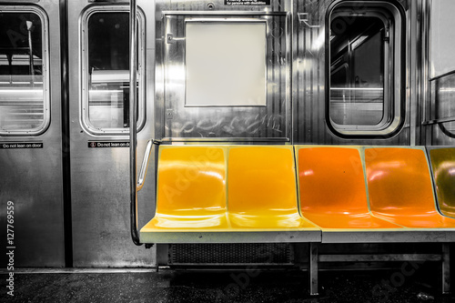 new york city subway car interior with colorful seats zdj stockowych i obraz w royalty free. Black Bedroom Furniture Sets. Home Design Ideas