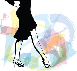 Abstract illustration of Latino Dancing woman legs