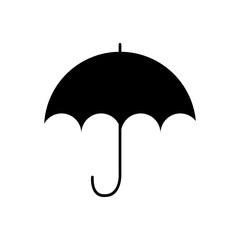monochrome silhouette with umbrella opened vector illustration