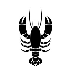 silhouette monochrome with lobster above vector illustration