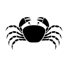 silhouette monochrome with crab above vector illustration
