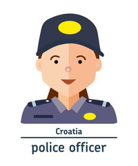 Avatar Croatia police officer on white background. Flat design.  Avatar for app