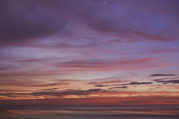 Orange sunset in ocean