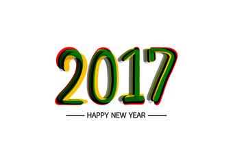 Happy new year 2017 calendar cover, typographic vector illustration.