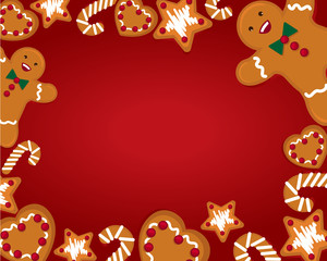 christmas ginger bread background isolated red