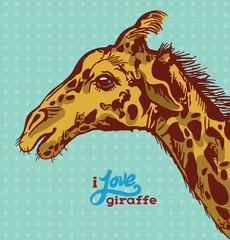 Graphic giraffe. Hand drawing illustration.