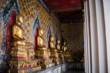 Row of Buddha gold  and thai art architecture in Wat Arun buddhist temple in Bangkok, Thailand.Photo taken on: 21 November , 2016
