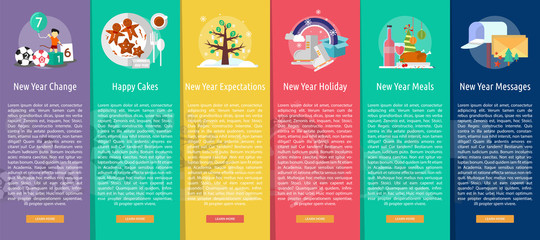 Celebration Happy New Year Vertical Banner Concept