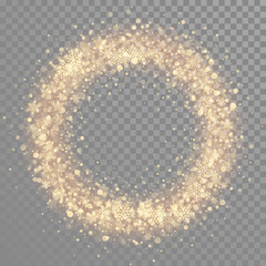 Golden shiny glitter snowflakes in round shape wreath
