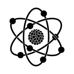 black silhouette of atom structure vector illustration