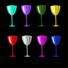 colored glasses set on a black background