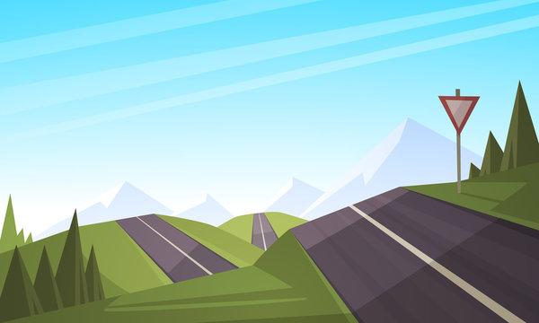 Cartoon illustration of the asphalt road over mountain.