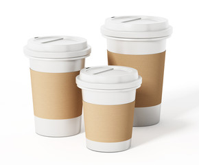 Various sized coffee cups isolated on white background. 3D illustration
